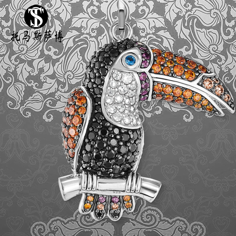 Personality crystal beaked Bird Pendant 925 silver fashion temperament trend womens necklace accessories Thomas Saab NEW
