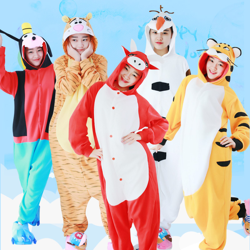 Cartoon animal one-piece pajamas stage performance costume love apartment cow cat dog Snowman mouse bear tiger Fox Home wear