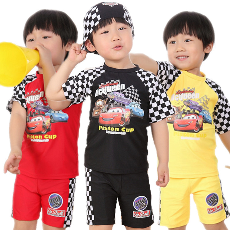 Cartoon car boys split swimsuit South Korean childrens sunscreen quick drying swimsuit three piece suit for playing water and surfing on the beach