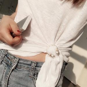 丝巾扣T恤衣角下摆打结扣环韩版高档韩国围巾女百搭体恤衣服饰品