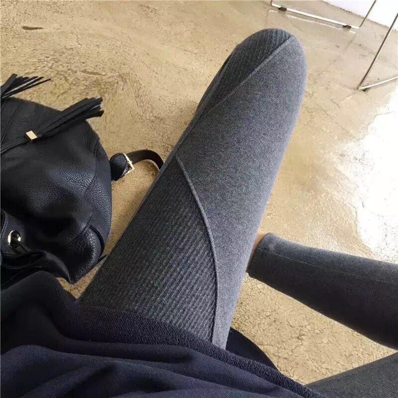 Autumn 2018 new off the shelf Leggings South Korea high waist cotton thread stitching show thin nine point Leggings