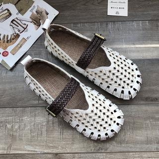 2021夏季款镂空女鞋洞洞鞋网状学生凉鞋百搭复古软皮孕妇鞋豆豆鞋
