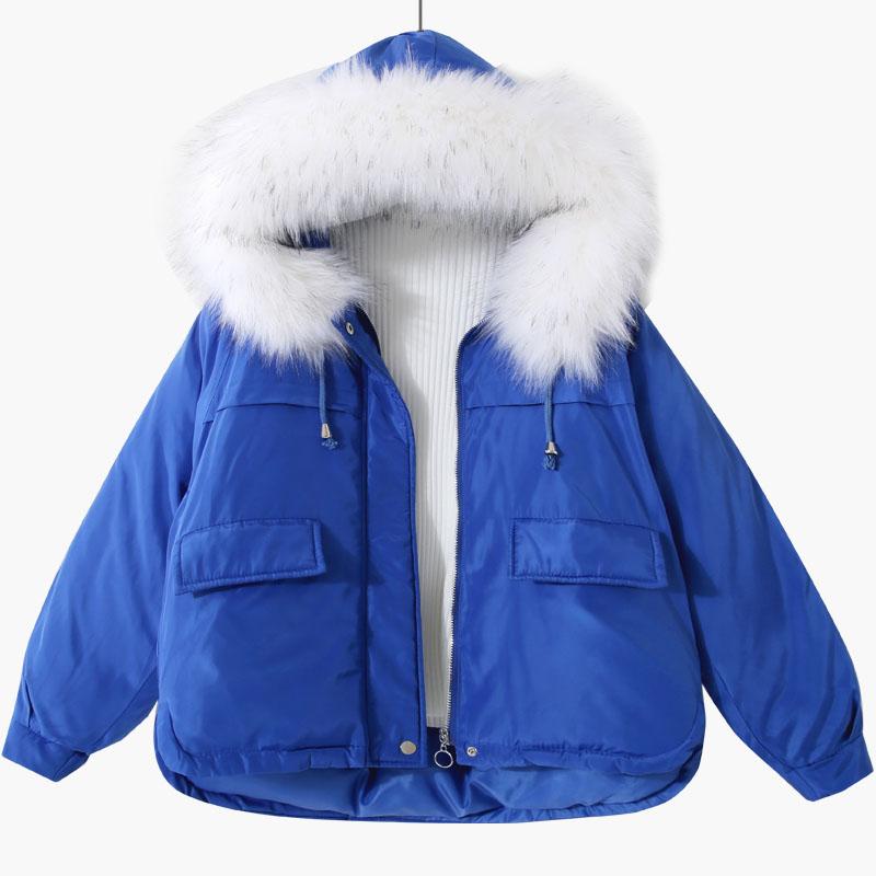 2018冬季新款韩版宽松显瘦大毛领连帽口袋面包服加厚棉衣棉服女