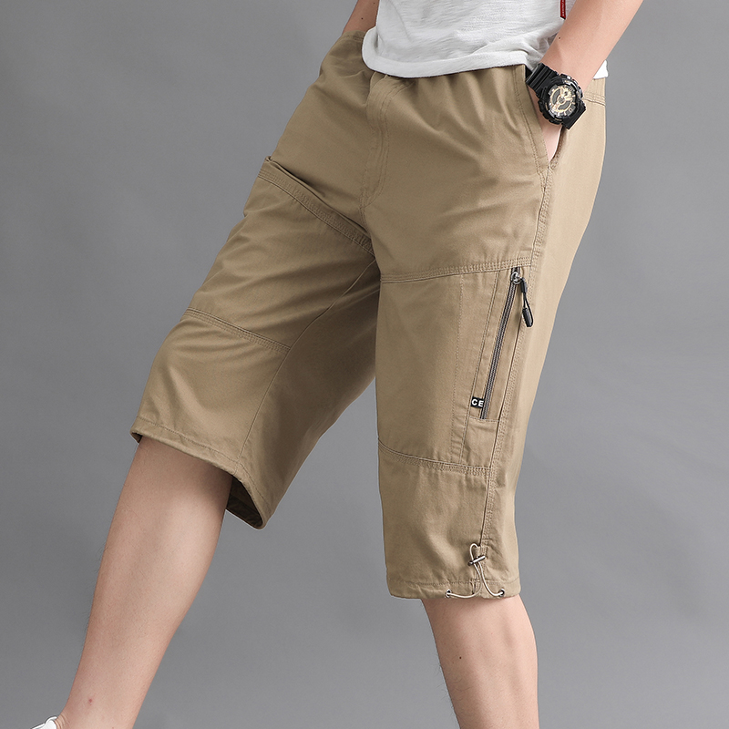 Mens Capris 2020 summer fashion brand middle-aged and elderly loose thin casual overalls dad wears Capris