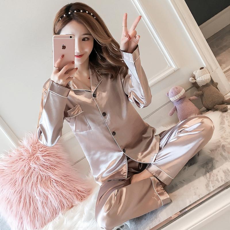 睡衣女士春夏季休闲长袖冰丝薄款开衫家居服仿真丝绸大码性感套装