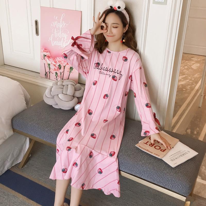 2018春秋季睡裙女士卡通字母长袖中长款棉质可爱宽松家居服睡衣夏
