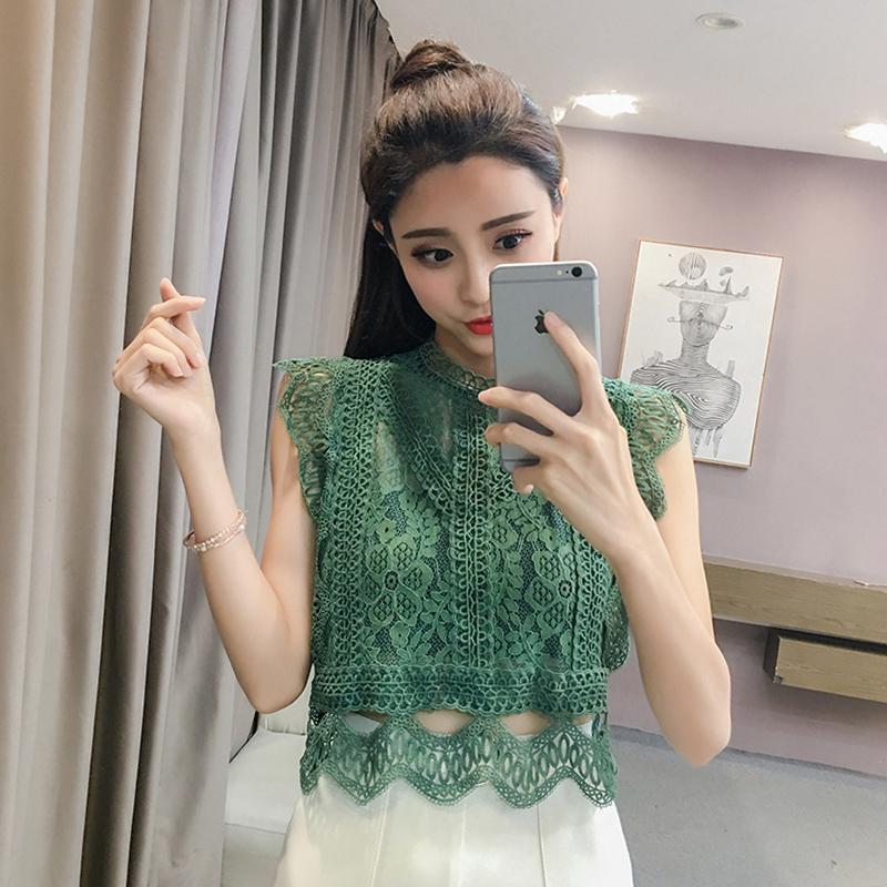 2018新款韩版时尚女装宽松显瘦镂空蕾丝花边小衫短款纯色短袖上衣
