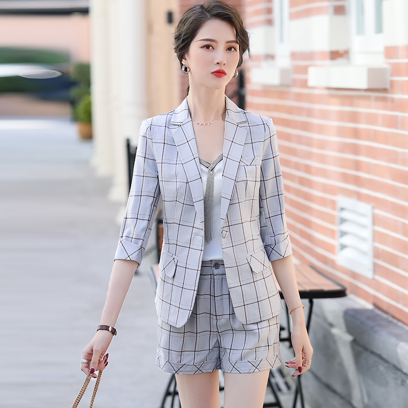 5-sleeve professional suit suit coat womens spring and summer new style with one button in pocket, white and pink plaid