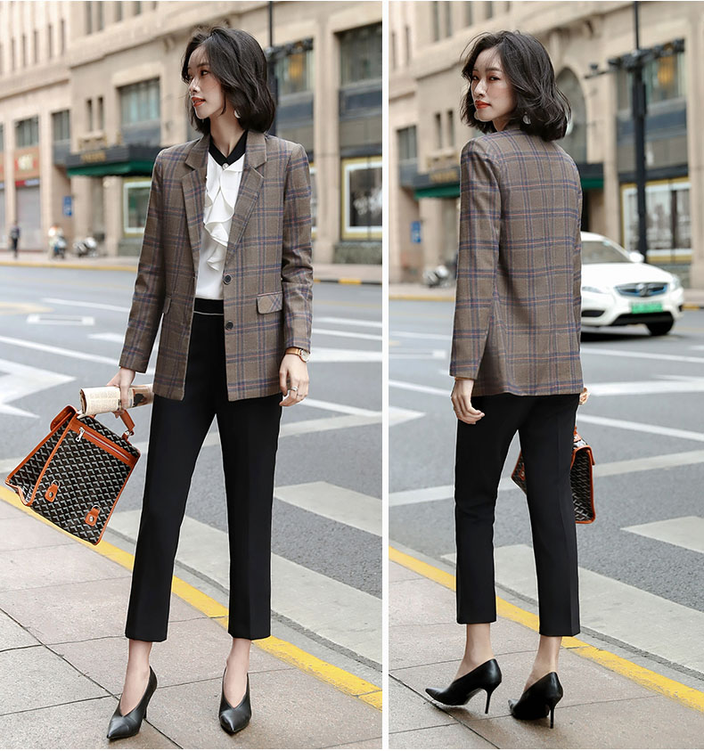 Medium and long white-collar professional wear long sleeve suit coat womens single row two button flap pocket coffee gray lattice