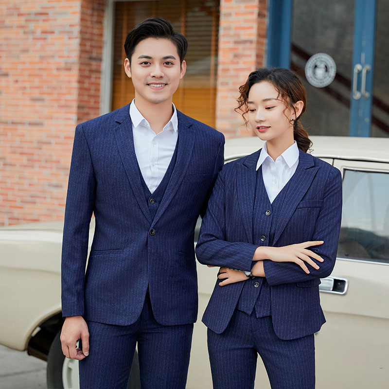 One button long sleeve suit jacket, mens and womens fit blue vertical stripe white collar business gentleman professional suit
