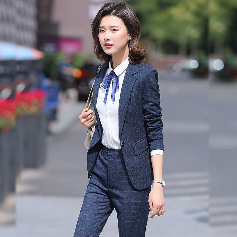 Long sleeve suit women ol commuting spring and autumn wear one button white collar professional work suit skirt pants large blue grid