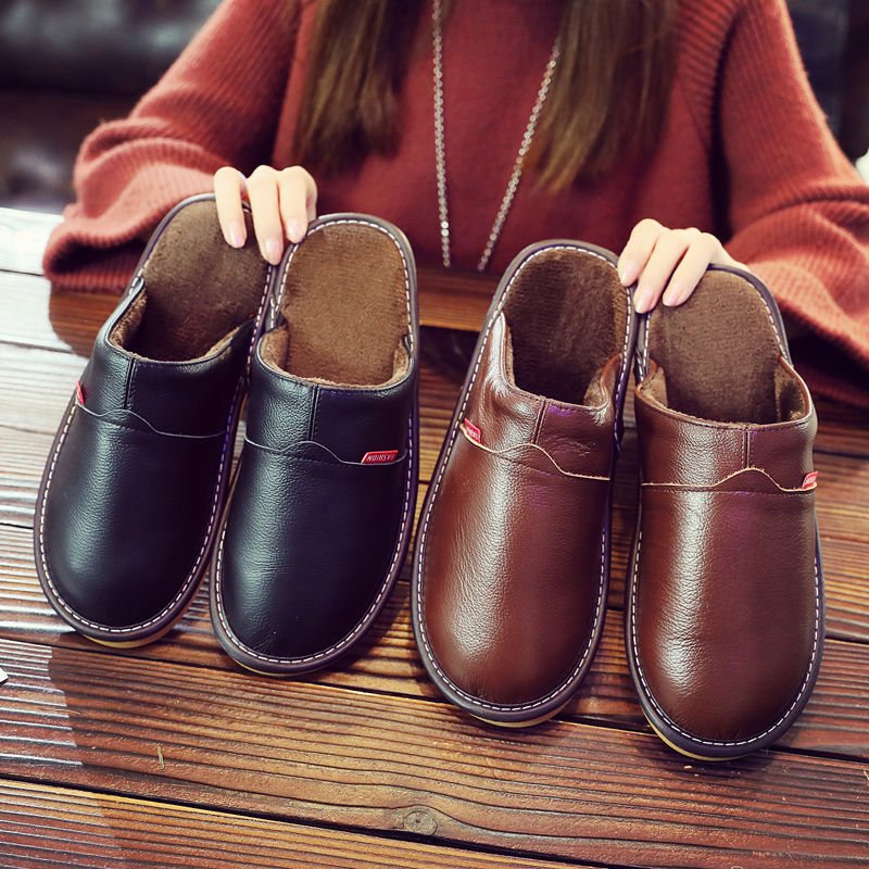 Household leather cotton slippers womens household mens thick bottom anti slip soft bottom autumn and winter warm cowhide couple indoor cotton shoes