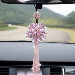 韩国新款汽车挂件水晶粉色高档女士车内饰品车载挂饰车上车用吊坠