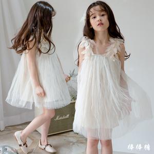 韩国女童连衣裙夏季小女孩韩版花朵儿童吊带裙中大童公主礼服纱裙