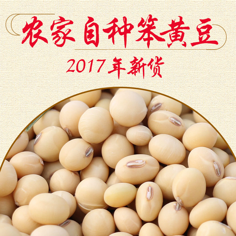 老品种黄豆农家自种3斤包邮散装非转基因笨黄豆打豆浆大豆土黄豆