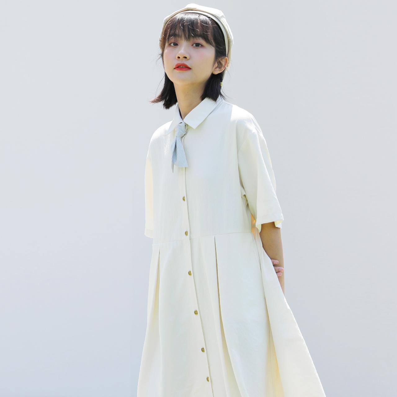 领带衬衫裙子连衣裙女夏学生韩版森系中长款复古港味2020年新款图片
