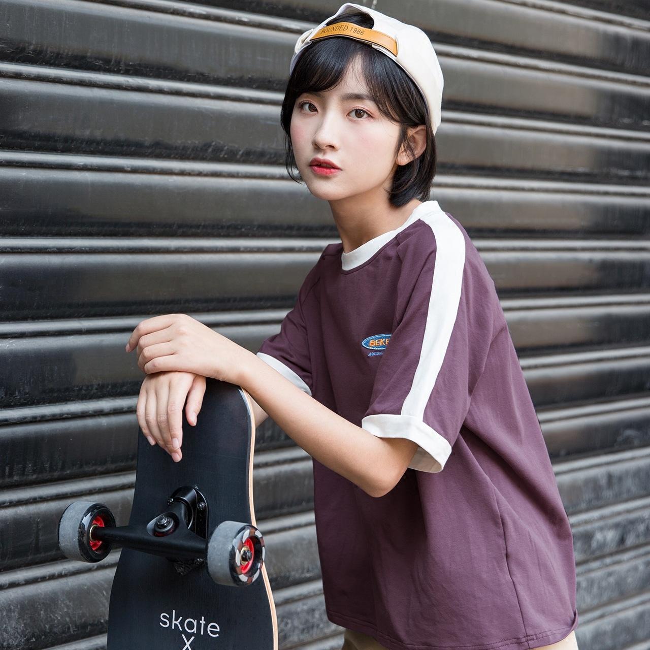 尔给紫色hiphop短袖t恤女夏宽松韩版学生bf原宿风2018新款上衣