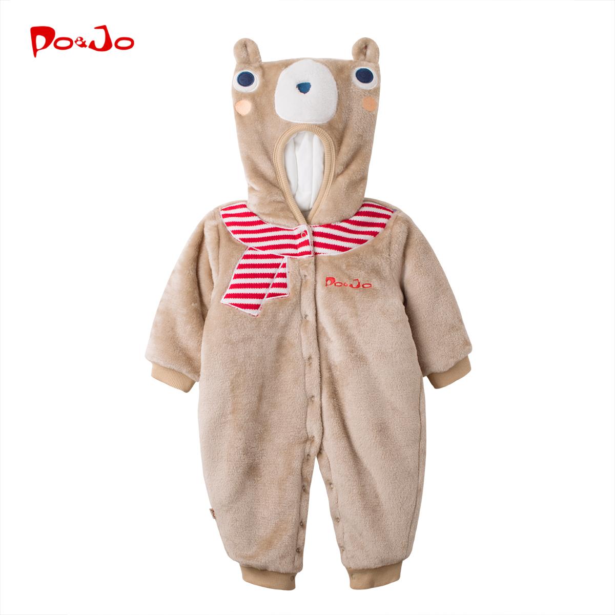 秋冬装婴儿宝宝动物造型连体衣新生儿外出服抱衣哈衣加绒保暖冬季