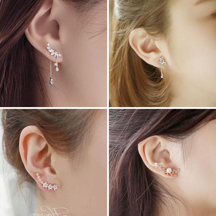 s925纯银韩国蝴蝶不对称女气质耳环