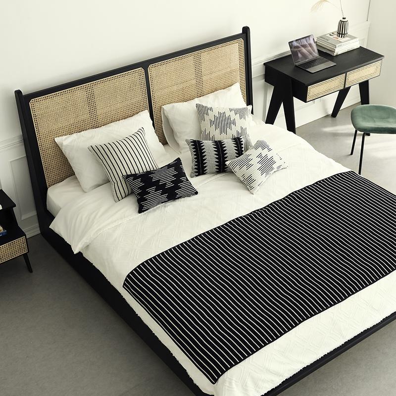 涵客家居 现代简约经典原创设计卧室藤编白蜡木框1.8m P.J双人床