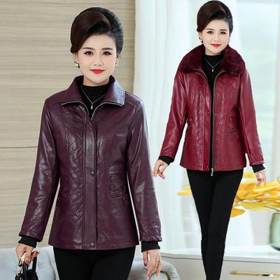 妈妈皮衣加绒加厚短款pu皮棉袄中年女冬装外套皮夹克中老年棉衣女
