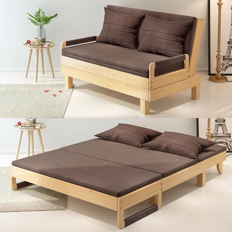 简单室内家居经济型沙发床实木床(非品牌)