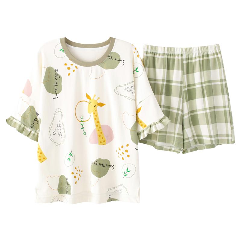 睡衣女夏季纯棉可爱学生短袖短裤套装