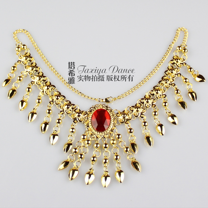 Special price belly dance accessories headdress Necklace dual purpose Indian dance jewelry gem necklace head chain big diamond necklace