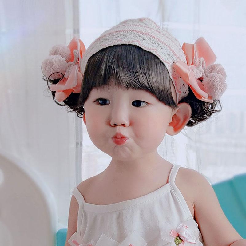 超萌公主配饰百天周岁女孩宝宝假发发带婴儿童刘海0-3-5-6个月1-2
