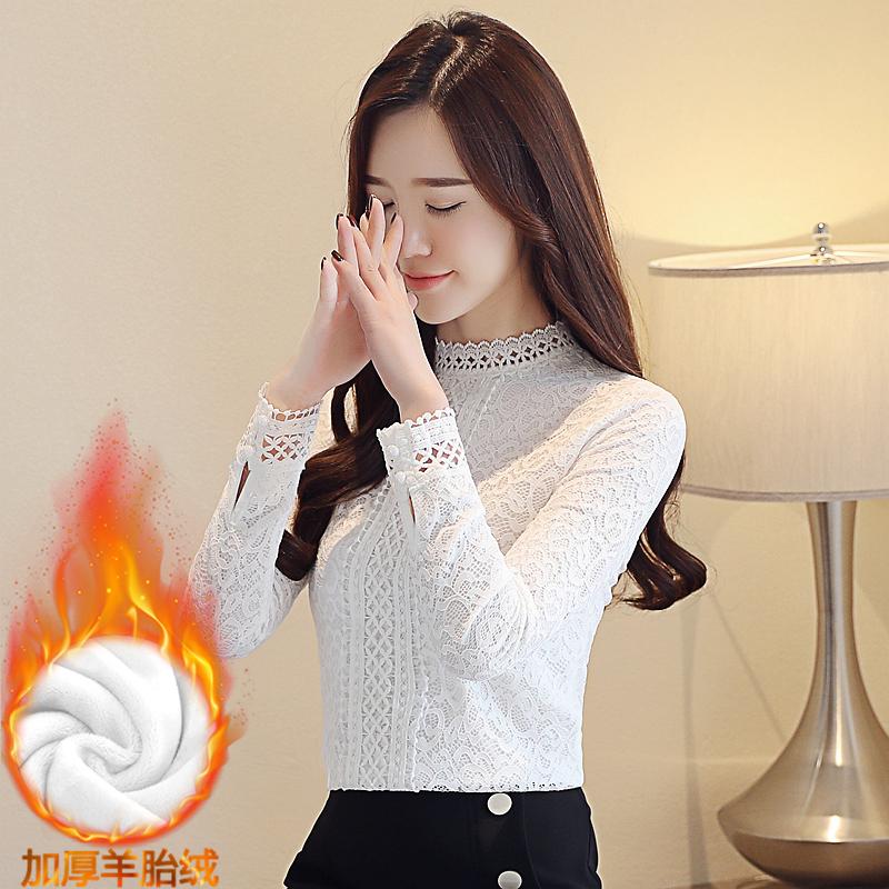 實拍8039#加絨加厚打底衫冬裝新款保暖上衣修身立領長袖女蕾絲衫