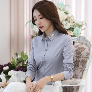 实拍8907#长袖衬衫女修身白色2017秋季新款女装韩版绣花打底衬衫