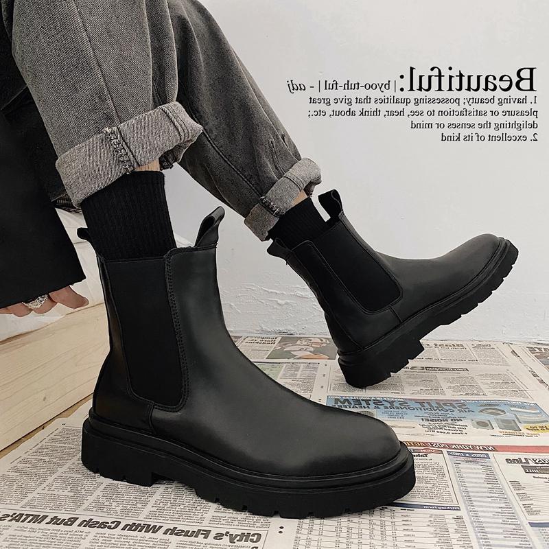 马丁靴男潮百搭英伦风切尔西男靴子中帮秋季黑色真皮工装高帮皮鞋