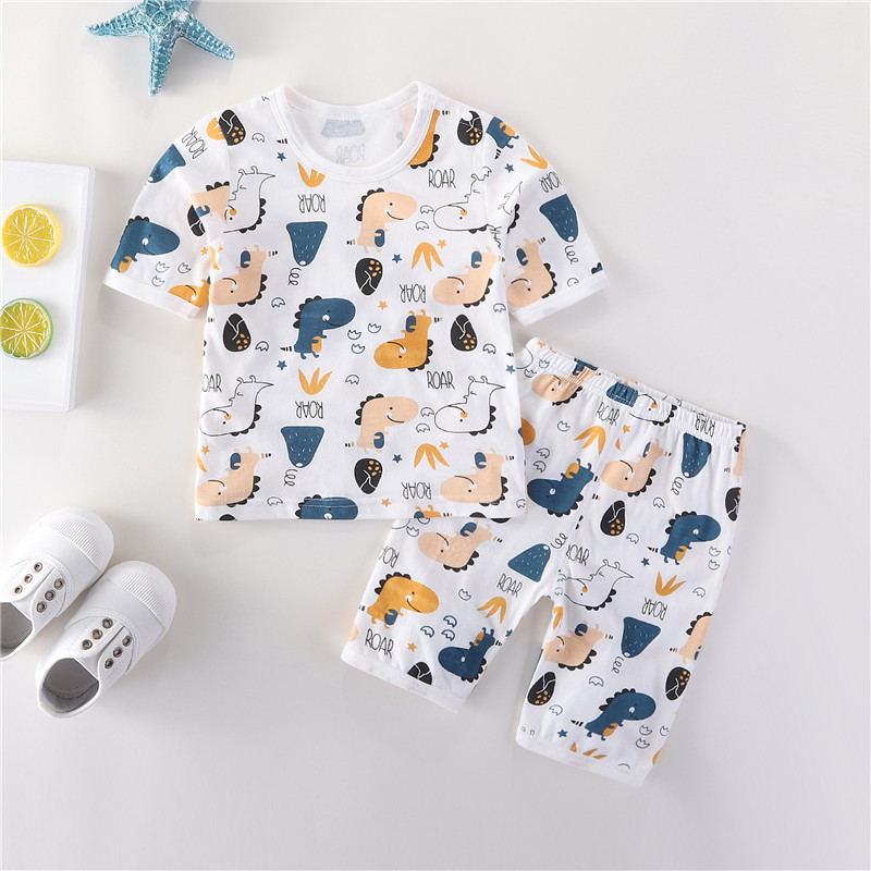 Summer baby Capris home air conditioning set bamboo fiber underwear summer thin pure cotton childrens short sleeve pajamas