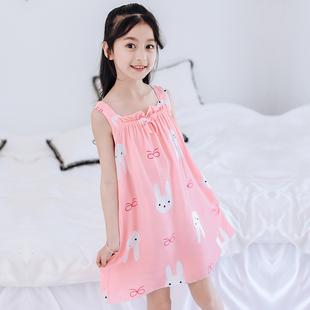 薄款 母女亲子女孩裙子棉绸吊带连衣裙儿童睡衣 女童睡裙中大童夏季