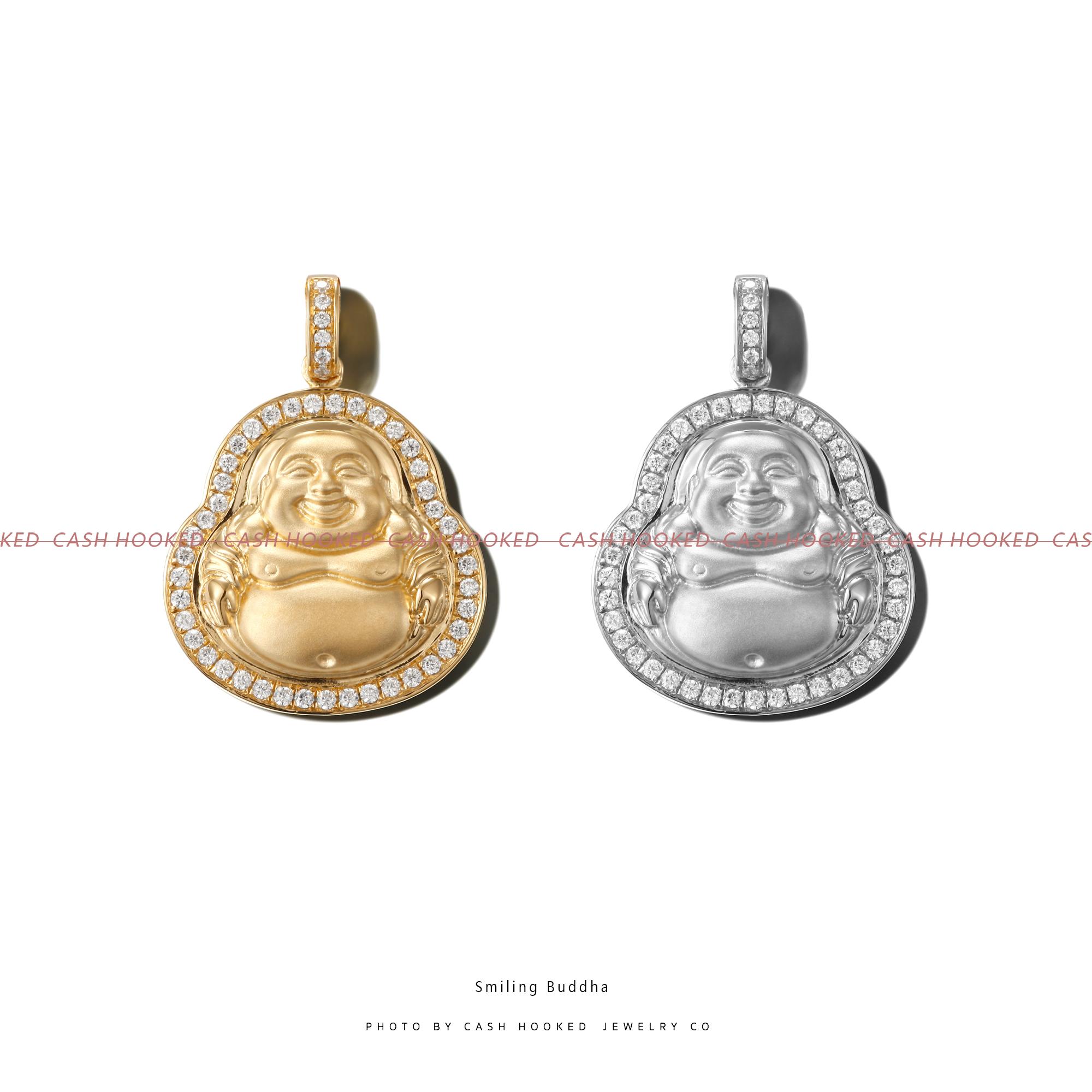 Cash Hooked s925银镀金 Smiling Buddha/大笑脸弥勒佛 嘻哈项链