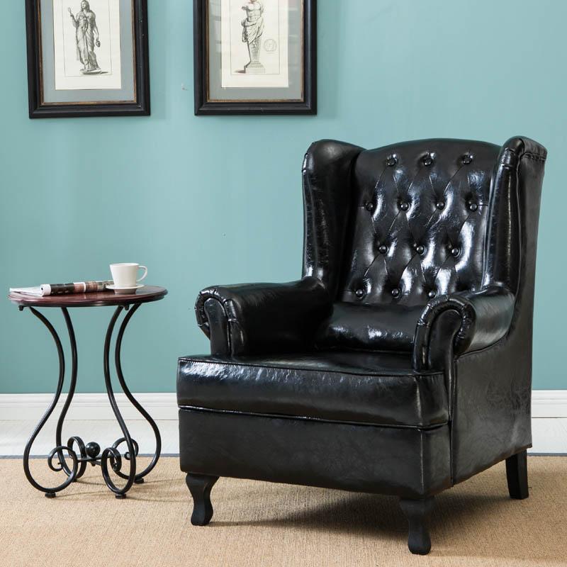 美式欧式老虎椅单人沙发客厅整装皮沙发简约沙发咖啡厅酒吧轻奢