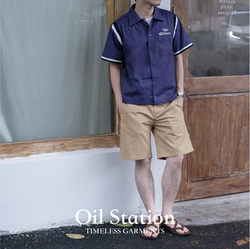 Oilstation Vintage Bowling Shirt casual Cuban collar contrast embroidery loose short sleeve frock shirt