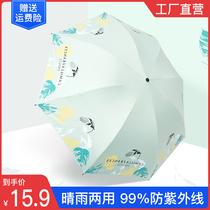 红叶雨伞女森系晴雨两用黑胶伞太阳伞小巧防晒防紫外线便携遮阳伞
