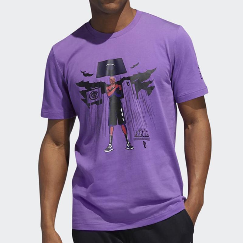 阿迪达斯19夏季新款黑豹篮球利拉德短袖漫威联名运动男T恤FI6370