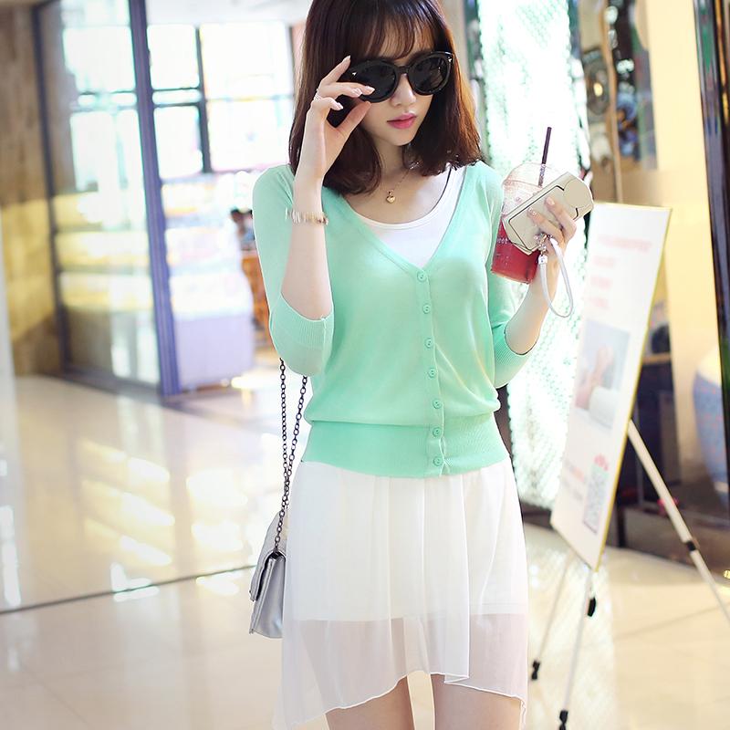 夏季超薄针织衫女开衫V领防晒衣空调衫修身外搭短毛衣披肩外套潮