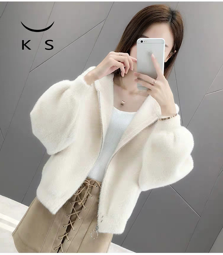2021 new spring and autumn hairy Hooded Coat female solid color imitation mink student short long sleeve knitted cardigan