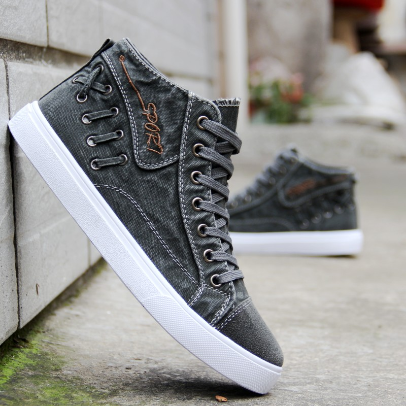 Summer and autumn mens 7cm high rise casual shoes mens shoes 5cm canvas shoes mens high top shoes