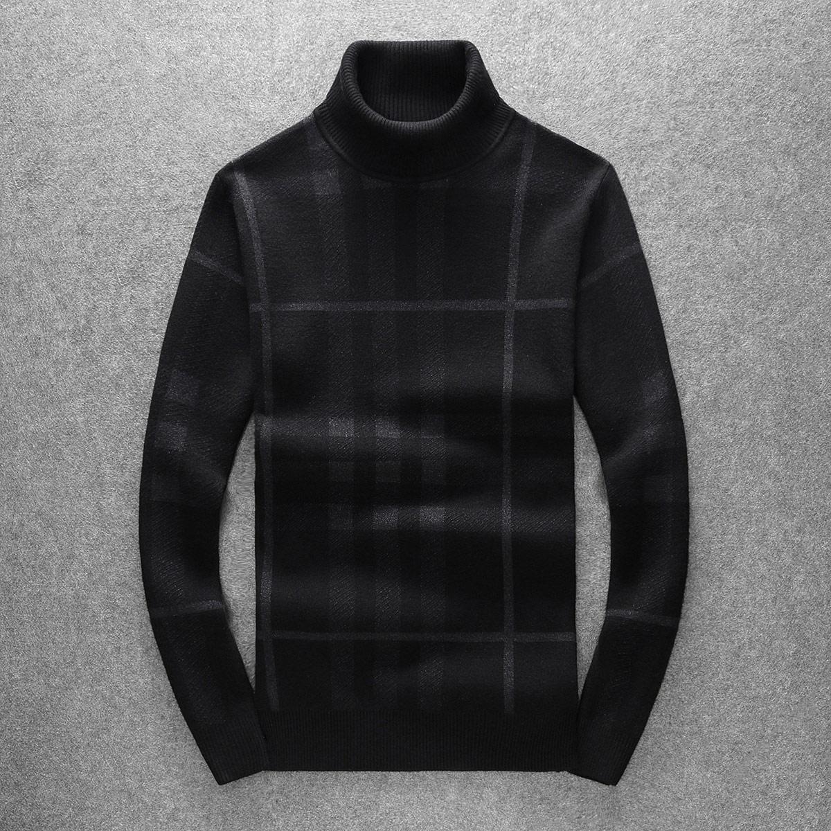 欧洲站冬装男式高领套头羊毛衫潮流修身条纹提花毛衣针织衫打底衫