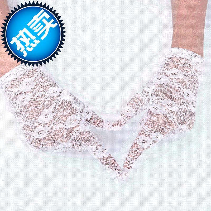 a结婚庆手套新娘婚纱手套蕾丝红色白色婚庆婚礼手套短长款缎面手