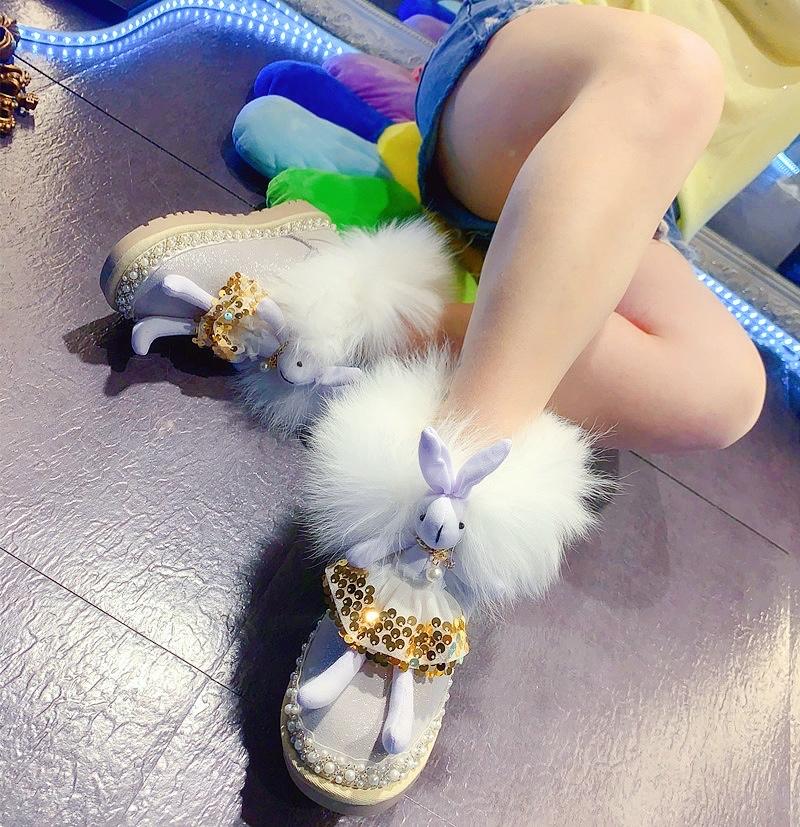 冬季白兔子女韩版显瘦亲子防滑保暖雪地靴棉鞋短筒可爱牛皮狐狸毛
