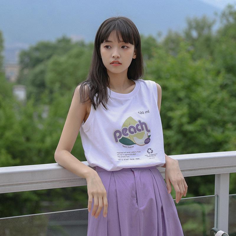 2020夏季新款韩版上衣宽松显瘦小清新印花图案学生外搭背心T恤女