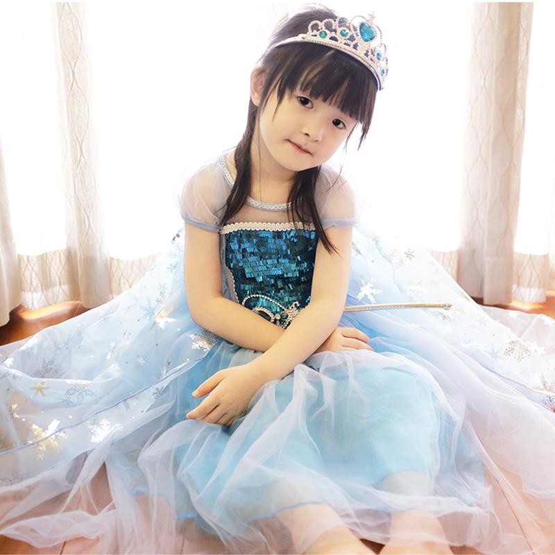 万圣节儿童服装冰雪奇缘正版爱莎艾莎爱沙公主裙女童洋气连衣裙子