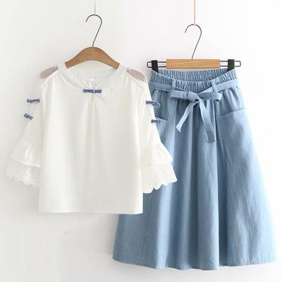 唐装中国风套装女夏季古风民族风清纯年轻版甜美上衣半身裙两件套