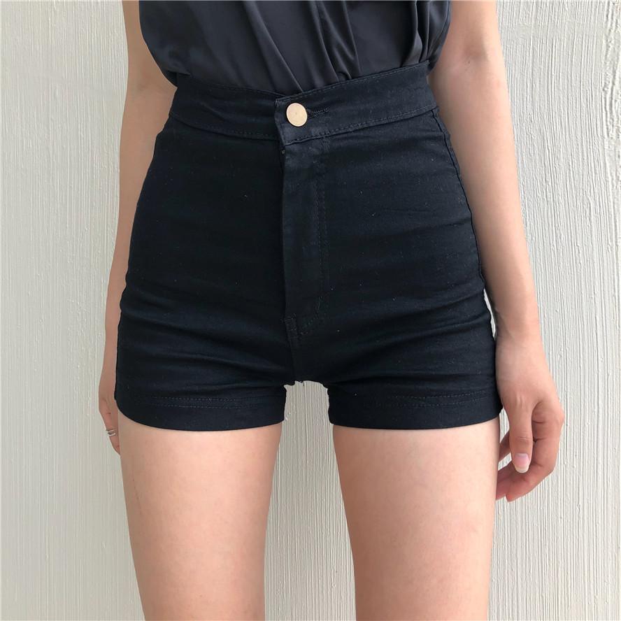 好质量夏季新款修身显瘦紧身弹力热裤百搭简约纯棉黑色牛仔短裤女
