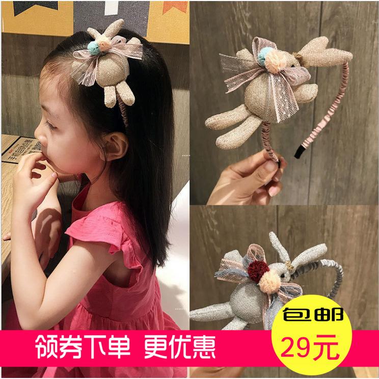 满12.00元可用1.32元优惠券立体兔子儿童发箍蝴蝶结毛球金丝布儿童头箍韩版风格创意发箍